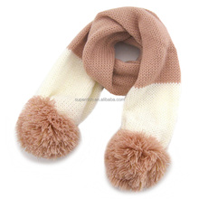 Long type Cheap fashion knitted scarf with pom