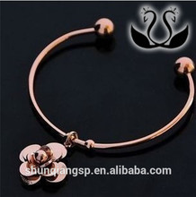 Alloy Express Wholesale Rose Gold Stainless Steel Camellia Flower Charm Cuff Bracelet For Women