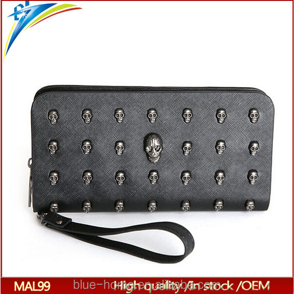 Fashionable punk skull rivets female purses with band strap long Banknote wallet
