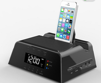 LCD FM Radio Alarm Clock Bluetooth Speaker Charging Docking Station Dock Station for Apple iPhone 5,4,4S, iPad, iPod, Samsung