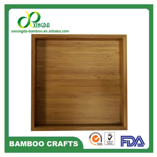 Square Bamboo Serving Tray with color painted, tray with handles