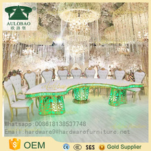 Best Factory price led light wedding stainless steel dining table designs