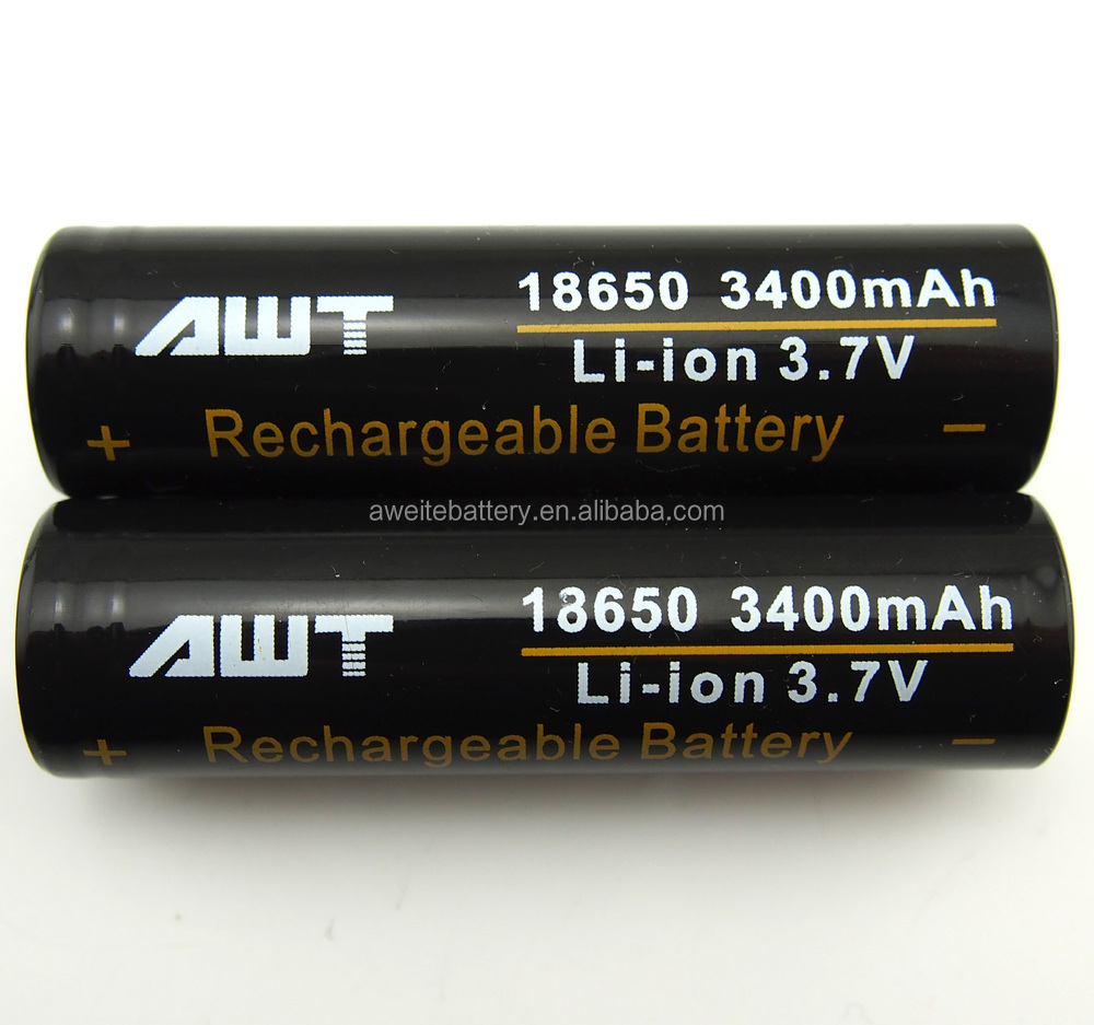 AWT 18650 3400mah 3.7V li-ion Rechargeable Battery AWT 18650 battery /Led flashlight battery
