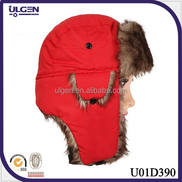 wholesale red color keep warm nylon taslon earflap hat