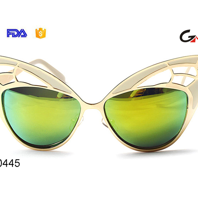 Superb butterfly design women sunglasses colorful metal hollowed-out frame cat eye party sunglasses ladies