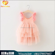Hot Selling Flower Girls Dress Summer Cotton Kids Frock Designs 2-6y Pink Petals Baby Girl Party Dress