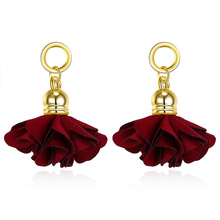 Cheap wholesale jewelry online fashion jewellery silk fabrics red earrings