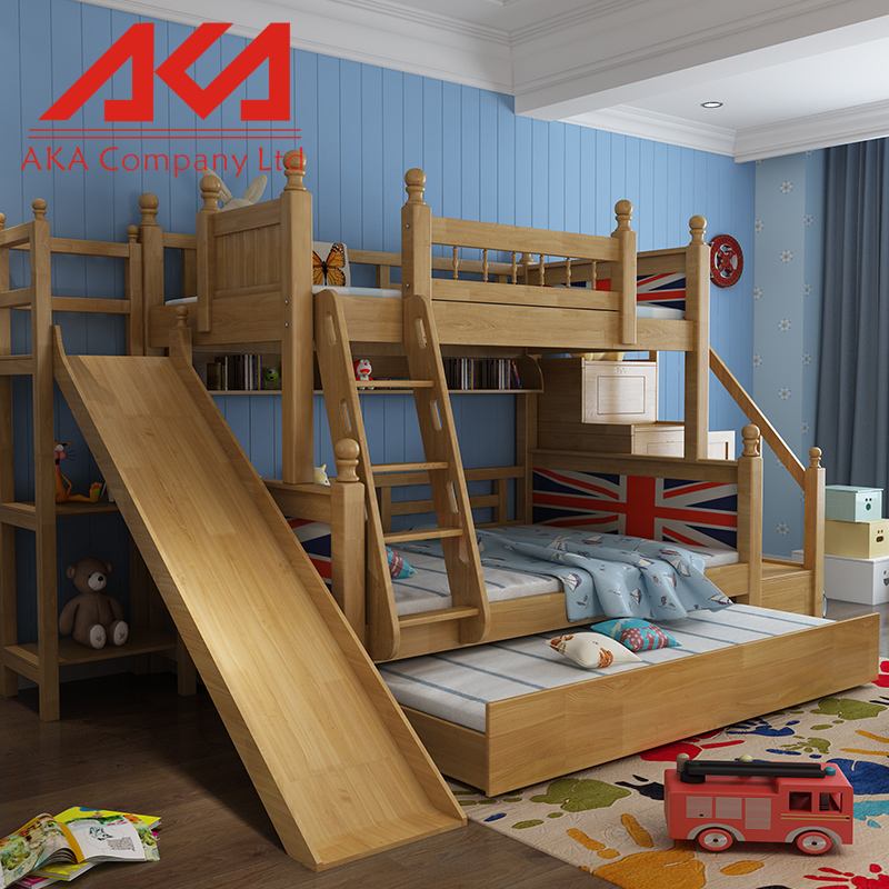 Parent And Child Multifunction Wooden Bunk Bed With Ladder Cabinet