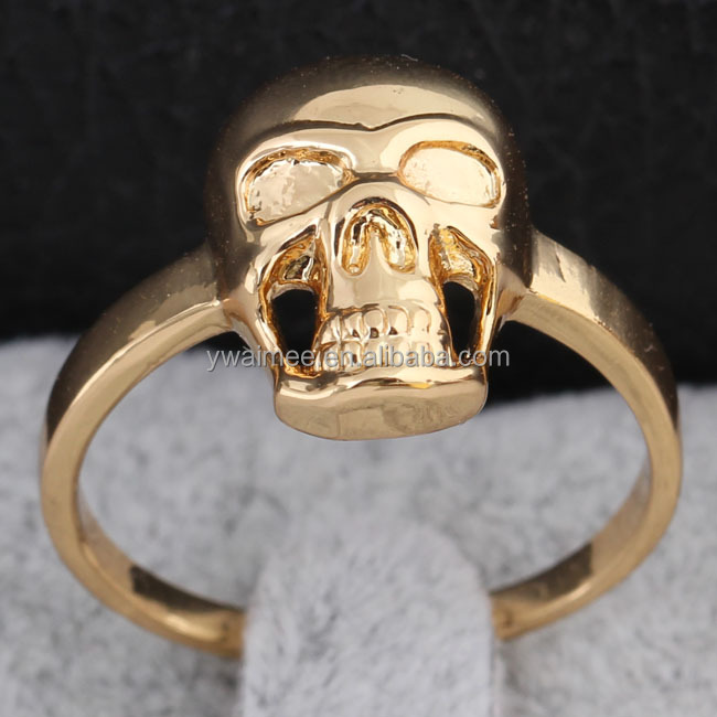 18 carat yellow gold wedding white zircon rings.the expendables skull ring(AM-J1268)