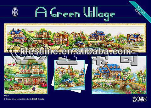 "Most popular cross stitch kits""A green village"",good quality cross stitch fabric"