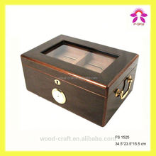 High Quality Wooden cigarette case with Glass Lid Cigar Humidor
