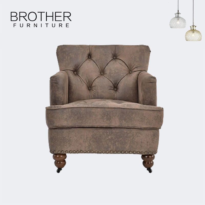 Wholesale living room wood frame furniture tufted single sofa chair