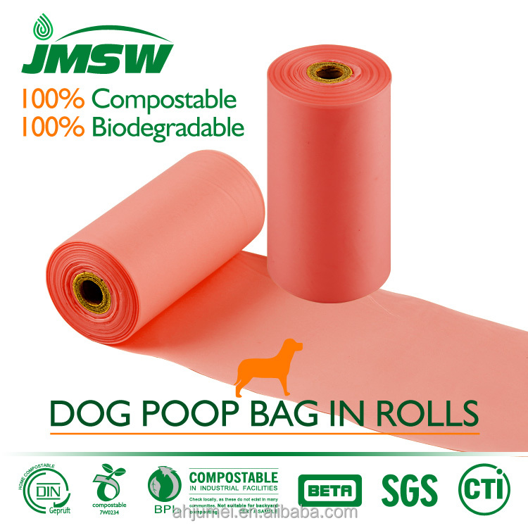 OEM green pet waste dog poop bags on roll with logo