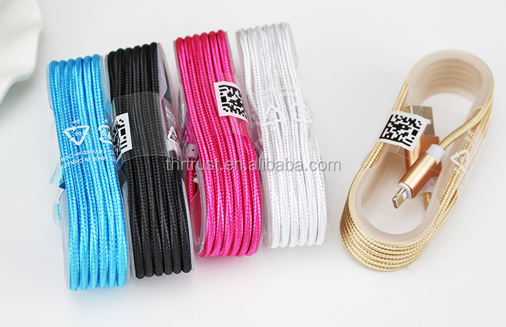 Smartphone sync data micro 5pin braided usb cable/white black blue green colorful Micro USB Cable For Mobile Phone