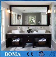 Custom hotel bathroom vanities set with marble top and vessel sinks