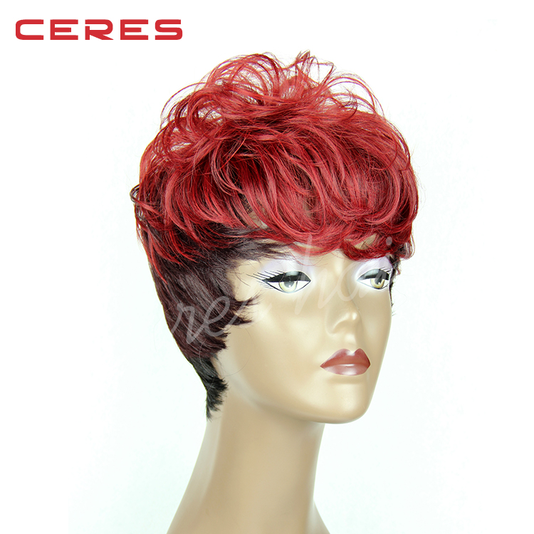 10.5 Inches High Quality Disco Party Short Straight Bang Costume Hair Wig Red Color