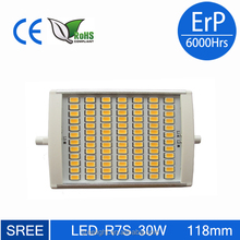 R7S LED 30W 118mm 3000LM SAMSUNG second gener SMD 5630 PF>0.98 Ra>85 ErP 6000Hrs regulable 118mm r7s led