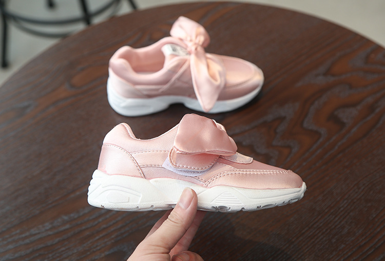 2017 autumn new girl sports shoes silk cloth bow rabbit ears sports shoes wholesale