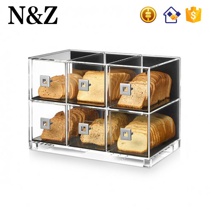 NZ M51 2 Layers Clear Acrylic Bakery Display Rack Custom Bread Display