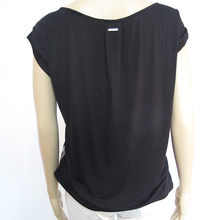 Ladies White And Black Stretch Front Collar Blouse With Design