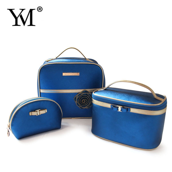 Wholesale custom daily PU leather make up pouch cosmetic bag set