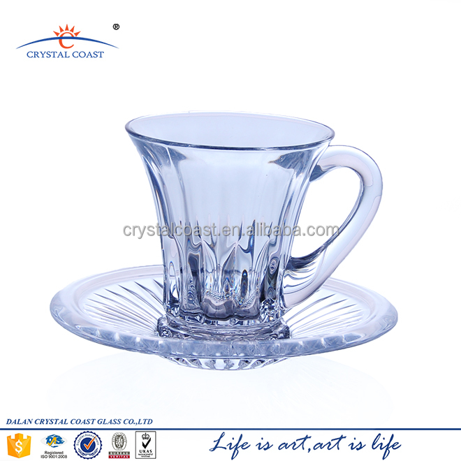 small crystal glass coffee cup and saucer set