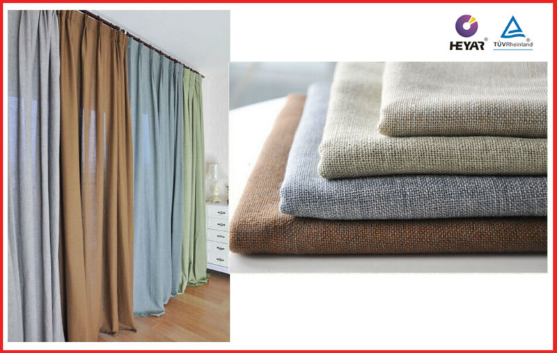 cheap continuous polyester linen light proof fire retardant curtain fabric