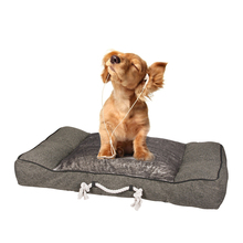 Elevated easy carry linen dog cushion