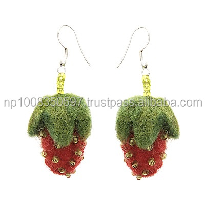 Felt Strawberry Earring with beads work