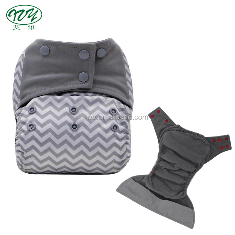 In stock PUL integrated insert bamboo charcoal all in one washable baby diaper