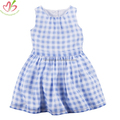 Blue Gingham Kids Girl's Dress with Lining