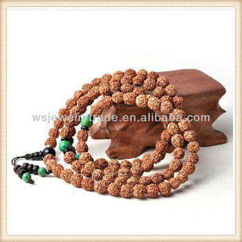 108 Natural Nepal Small Rudraksha With Turquoise Beads Mala Necklace Wholesale