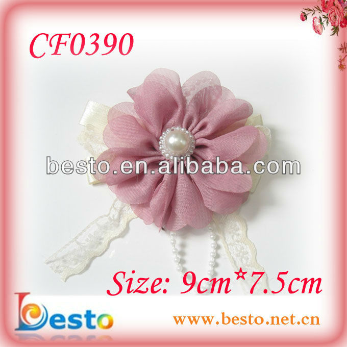 handmade chiffon fabric wedding decoration bride corsage pin in brooches