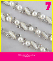High-end Product Glass Material Clear Rhinestone Setting Silver Plating Trim Mount Rice and Round Shape Pearl