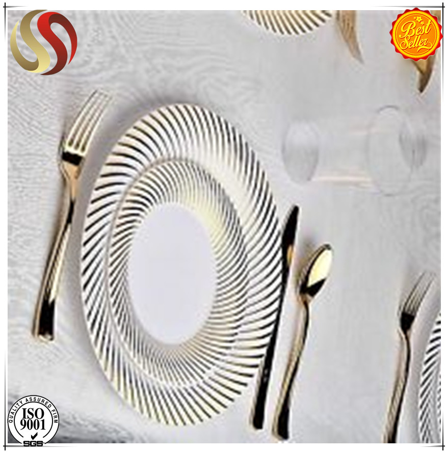 2017hot new products elegant Plastic Charger Plate w/Gold rim , PS round dinner plate, buy direct from china factory best seller
