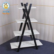 Double Sides Bathroom Shelf Storage Display Shelving Bookcase, Ladder Wooden Bookshelf