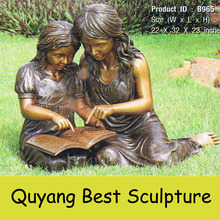 life Size Bronze Reading Book Girls Statue on Lawn for Outdoor Decoration