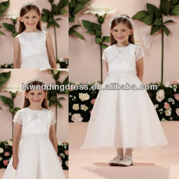 HF2005 White organza short sleeve cropped jacket with frog closure rosette waist tea length zipper back flower girl net dresses