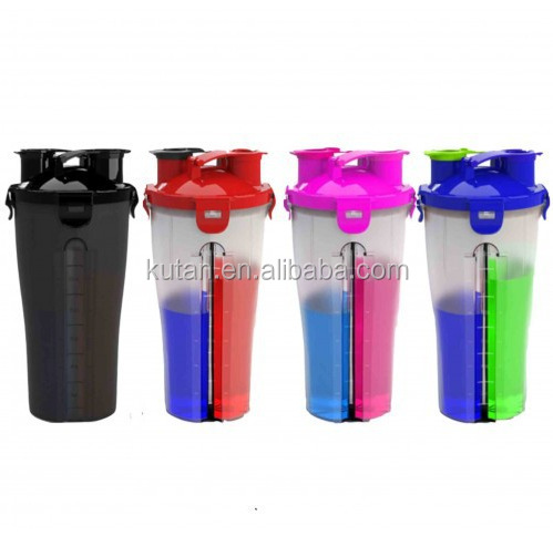 700ml Twin pack Protein Shaker bottle Dual Protein Shaker Cup with Dual Shaker