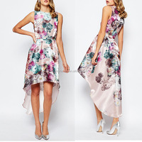 Latest Design High-to-low Cut Hem Sleeveless Big Floral Printed Fashion Prom Dress 2016