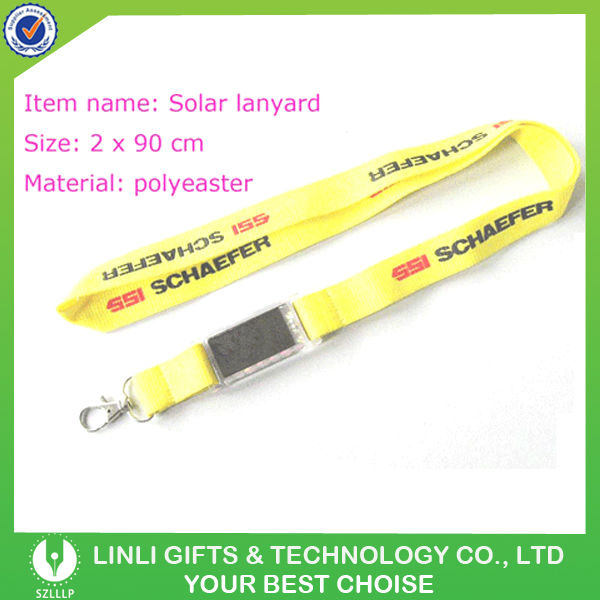 20*90mm Promotion Polyester LCD Solar Lanyard