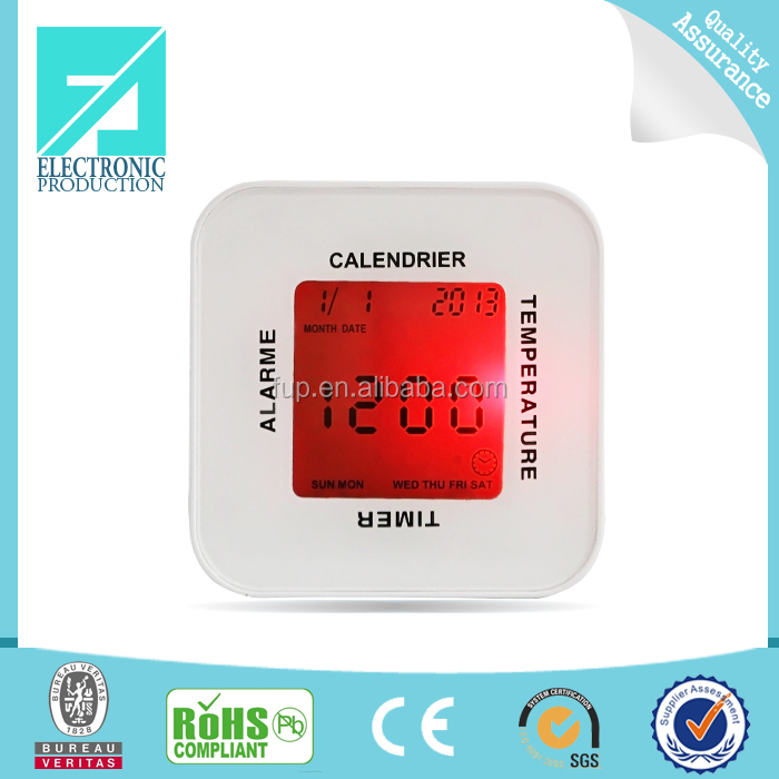 Fupu Best selling Multifunction lcd mini Four side Displaying Clock