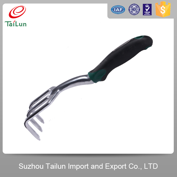 High Quality Polished Aluminum Head Comfortable TPR Handle Garden Rake