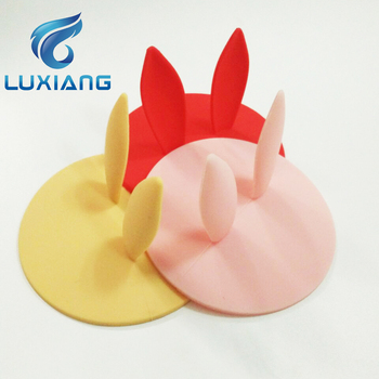 Custom Cute Shape Silicone Cup Lid Tea Cup Cover With Animal Ear Silicone Cup Lid Cover