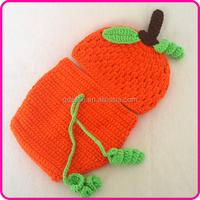 Cute newborn baby gift set crochet hat and diaper cover set Hallowmas pumpkin set newborn photography props