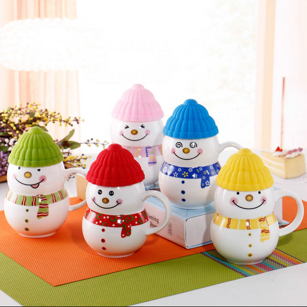 Happy Christmas Gift Cute Cartoon Snowman Ceramic Coffee Mug With Lid For Kids