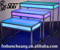 Stainless Steel Banquet/Wedding/Bar/Home/'Hotel Rasier Table with LED Lights and Glass Top