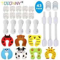 43Pcs Home Baby Child Safety Kit Door Guard Socket Covers Cabinet Locks Corner Guards