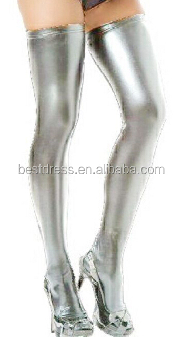 Walson New Sexy Wet Look Faux Leather PVC Stockings Leggings Hold Ups Fetish Shinny