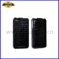 New Arrival Black Color Croco Leather Flip Case Cover for Apple iPhone 4